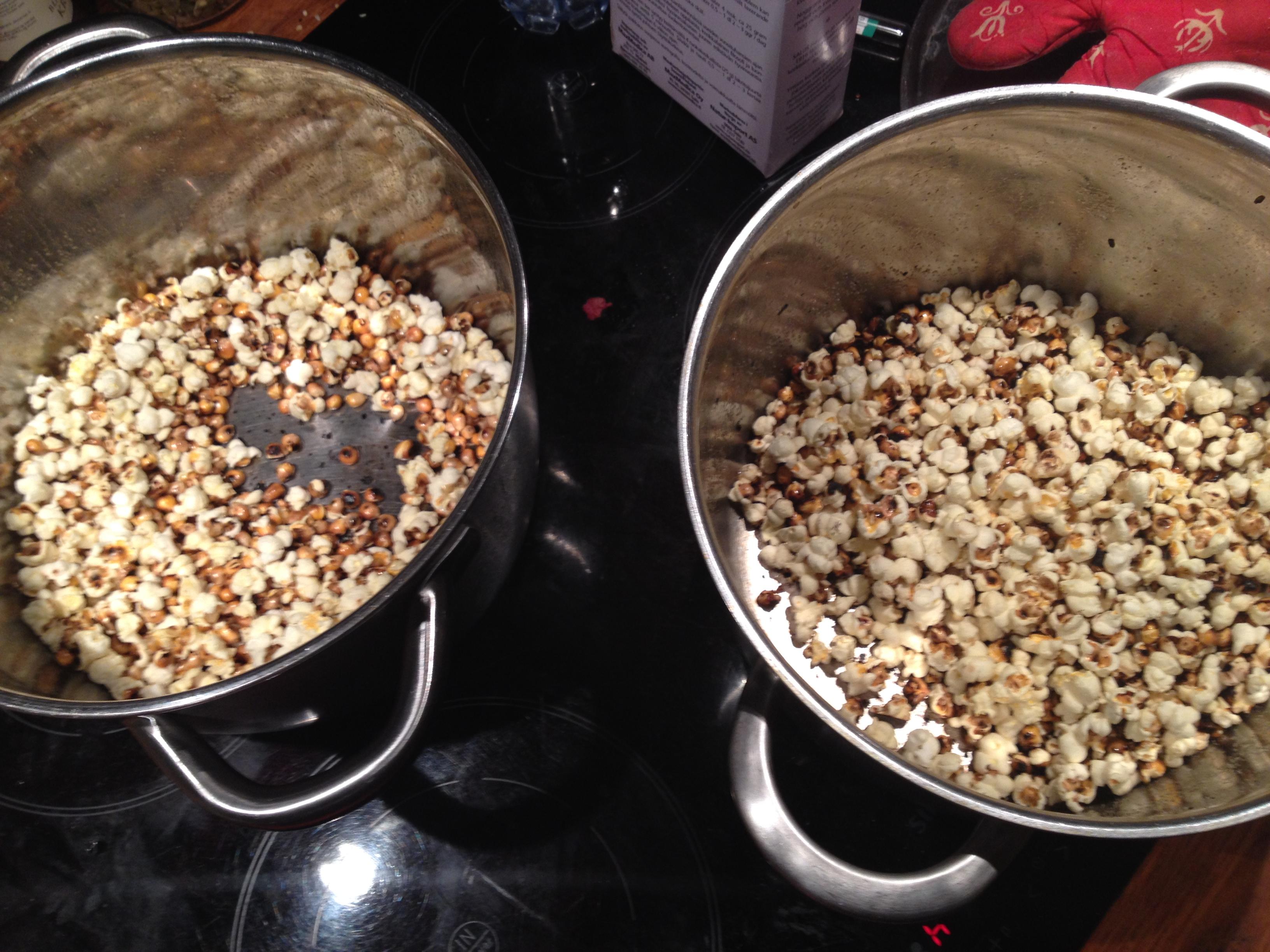 göra popcorn i kastrull